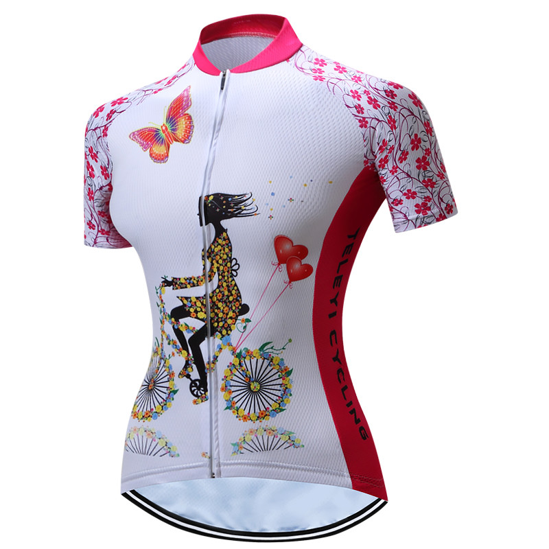 Teleyi Red Women Cycling Jersey Summer Mountain Bike Jersey Breathable MTB Bicycle Clothing Quick Dry Team Road Cycling Shirt