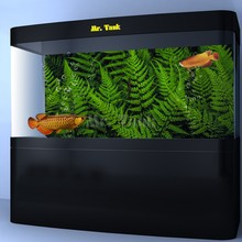 Mr.Tank Aquarium Background Poster Sticker New Green Ferns Leaves PVC Fish Tank Backdrop Landscape Decoration Accessories