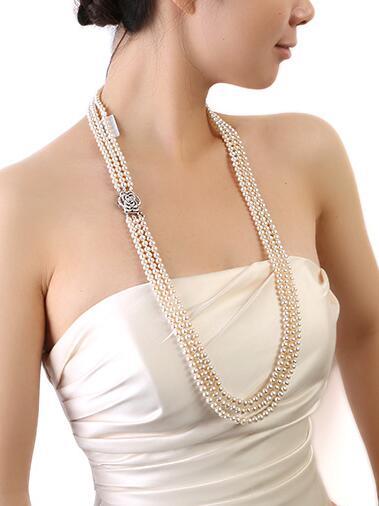 Collier de perles d'eau douce blanches naturelles à trois brins 6-7mm 35 36 37 pouces