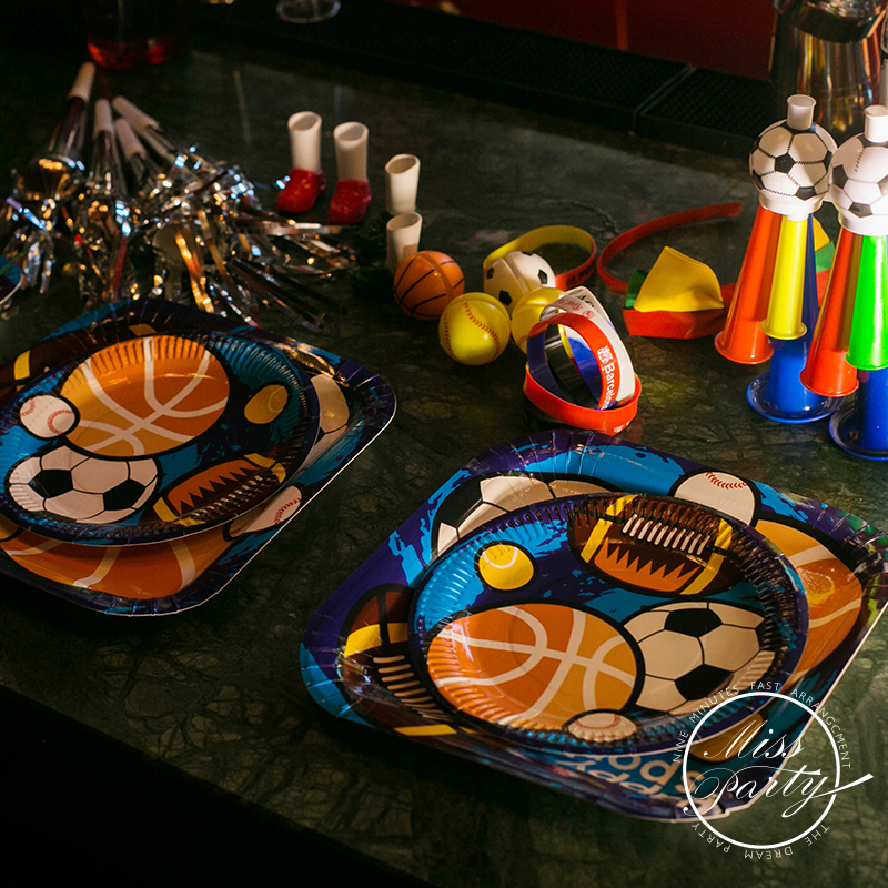 Elise lin's store Party Supplies Sports Football Basketball Tableware Venues Party Creative Design Children's Birthday Dress Up Set