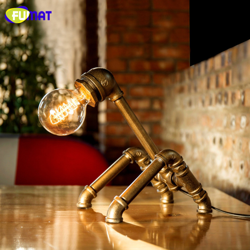 FUMAT Loft Industrial Water Pipe Desk Lamp Vintage Bedside Table Lamps For Living Room Bedroom Home Decor Desk Lamp Luminaria fumat creative iron water pipe table lamps led industrial loft vintage desk lamps cafe bar robot table lamps for bedroom