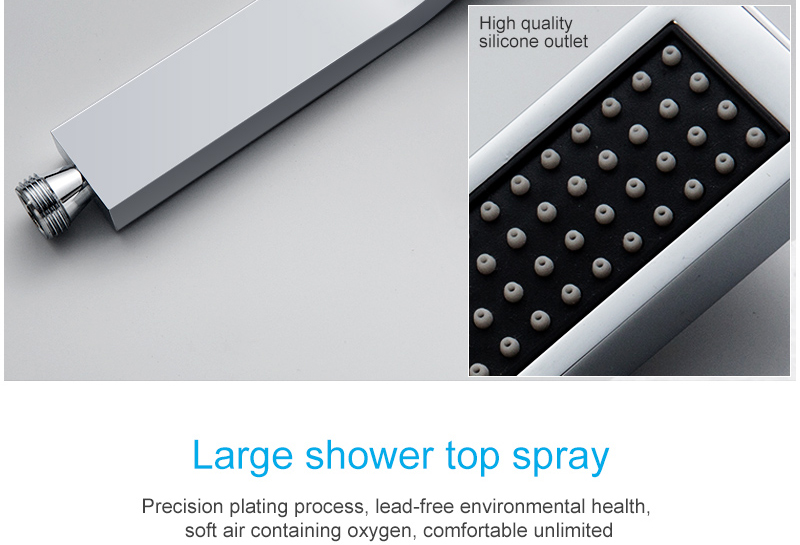 hm Shower System Double Waterfall Rainfall Large Ceiling LED Rain Shower Head Recessed Automatic Color Change Thermostatic Tap (23)