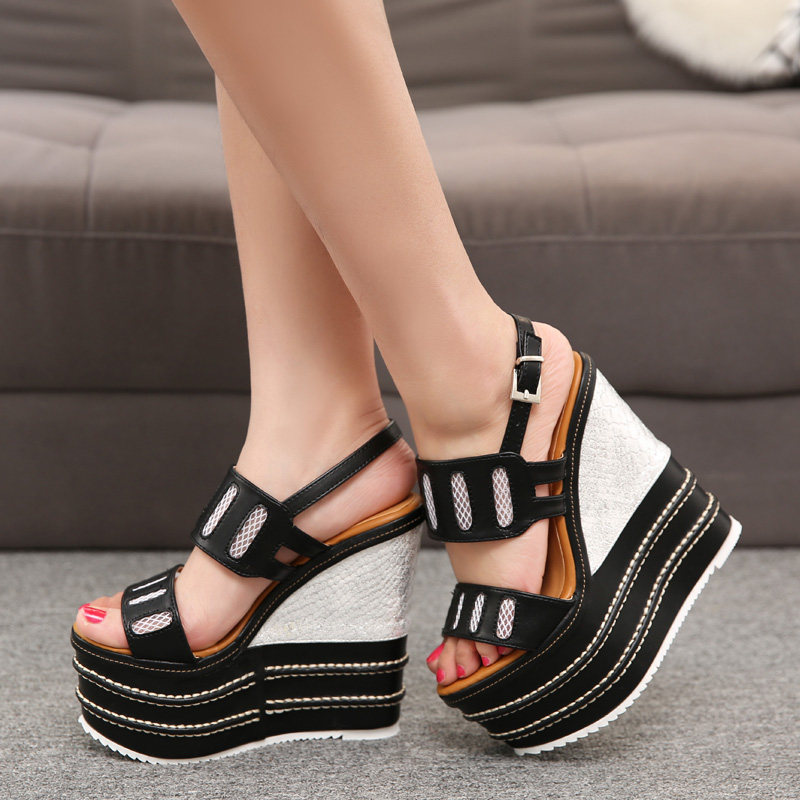 Catching Women White Pleather Open Toe High Heels Wedges ...