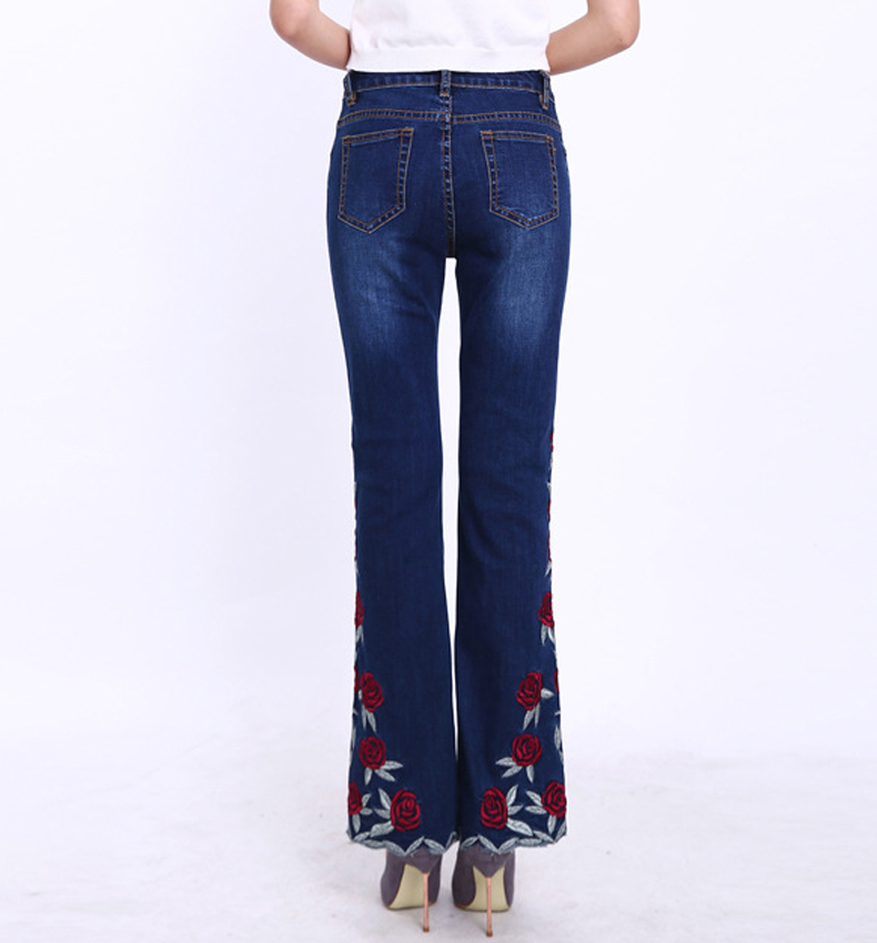 KSTUN Woman Jeans Bell Bottom Jeans Embroidered High Stretch Womens Flared Pants Denim Ladies Flowers Embroidery Jeans Mujer Femme 36 16
