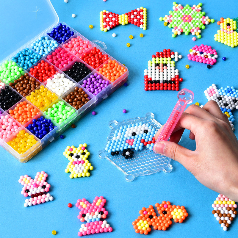 3000Pcs/Set 5mm DIY Water Spray Magic Beads Kit Animal Molds Hand Making 3D Beads Puzzle Educational Beads Children Toys