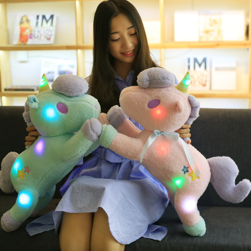 1PC 55CM Luminous Led Light Stuffed Unicorn Plush Toy Soft Flashing Stuffed Animal Unicornio Doll Children