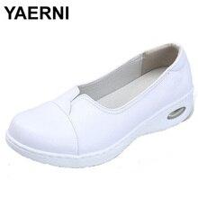YAERNI Four Seasons Woman white Nurse shoes women Platform soft Comfortable Air cushion casual genuine leather Antiskid shoes