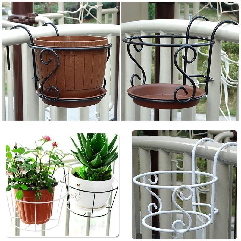 Creative Hanging Plant Iron Racks Balcony Round Flower Pot Rack Railing Fence Outdoor Flower Pots & Planters