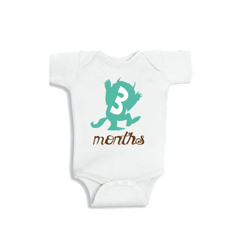 YSCULBUTOL Unisex Where the Wild Things Are Baby Monthly Jumpsuit Set 12 Month Set Mint Green Theme mint green casual sleeveless hooded top