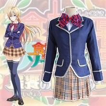 Anime japonés Guerras Comida!: Shokugeki No Soma Erina Nakiri Cosplay Traje de Uniforme Escolar Traje Más Nuevo (Coat + falda + Tie)