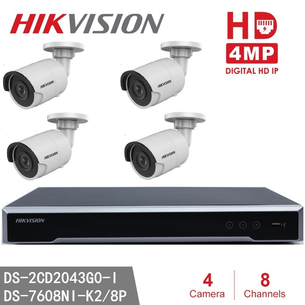 Hikvision NVR DS 7608NI K2 8P 8CH 8 POE 4pcs Hikvision DS 2CD2043G0 I 4MP High
