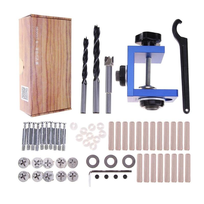 цена на Mini Kreg Style Pocket Hole Jig Kit for Wood Working Step Drill Bit Stop Collar Wood Drilling Hole Saw Tool Set hot sale