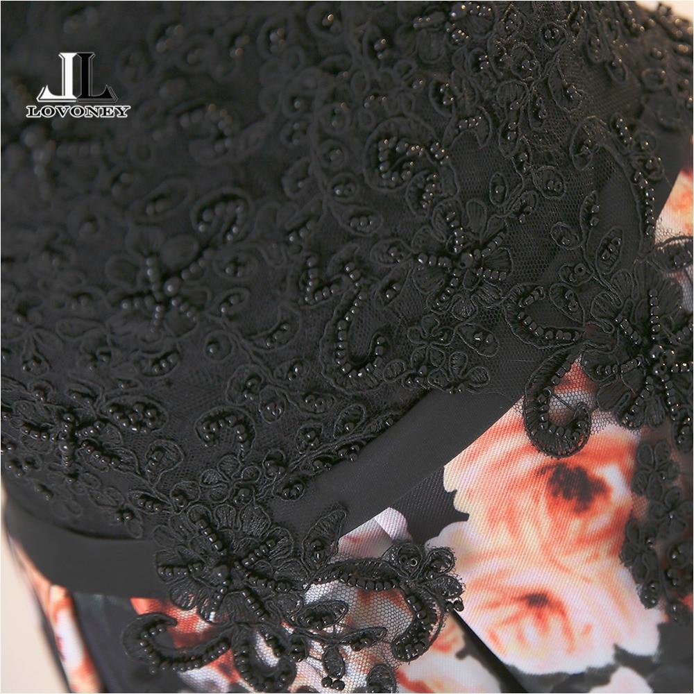 LOVONEY Leretan Gaun Keretapi Bunga Corak Renda Pakaian Petang Gaun - Gaun acara khas - Foto 4