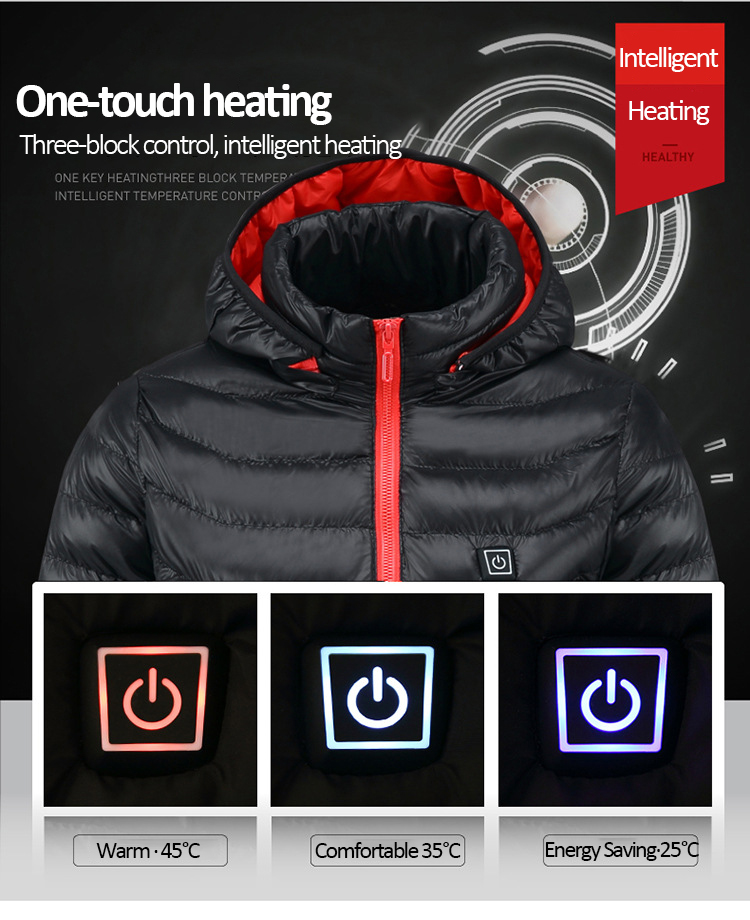 livre usb aquecimento infravermelho com capuz jaqueta