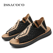 ISSACOCO Mens Summer Slippers Men Artificial Weaving Flat Shoes Outdoor Casual High Quality Non-slip Sandals Adult Beach