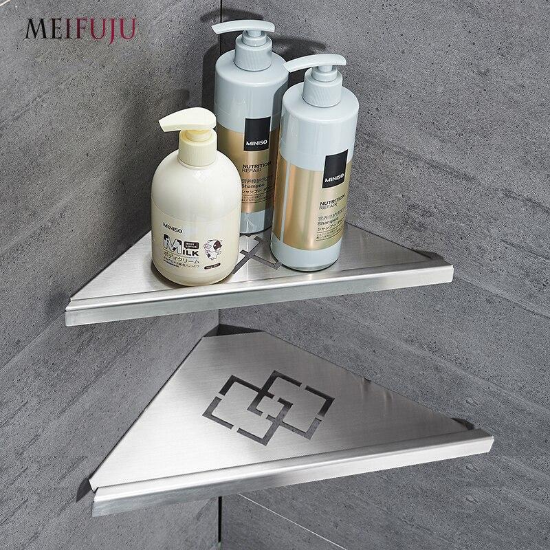 MEIFUJU Single Dual Triple Tier Bathroom Corner Shellf Shower 304 Stainless Steel Bathroom Shelves Wall Mounted Shampoo Shelf