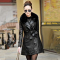 Women Thicken Plus Cotton PU leather Long Coat 2016 Winter New Women Fur Collar Slim Long Trench Overcoat Leather Jacket M-3XL