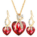 Women Crystal Heart Necklace Earrings Jewellery Set Gold Plated Jewelry Sets For  Bridal Wedding Accessories