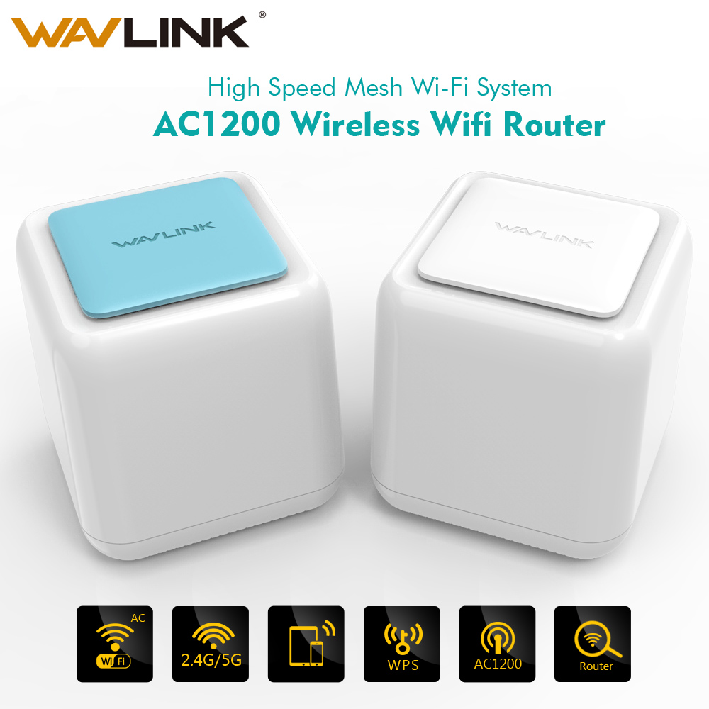 Wavlink AC1200 Wireless WiFi Mesh Router Gigabit WI-FI repeater Whole Home Mesh Wireless WiFi System touchlink Dual Band 2.4G/5G wavlink 1200mbps dual band wifi router smart wireless wi fi router usb port 2 4g 5g ac1200 4x5dbi external antennas app control