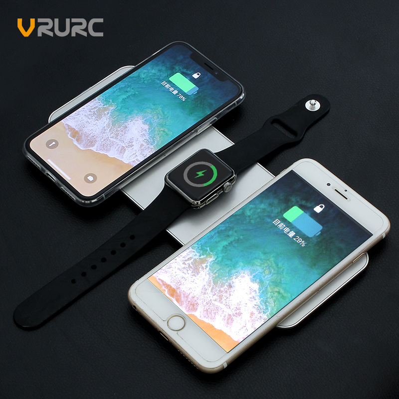 VRURC 3 in 1 QI Wireless Charger For iPhone X 8 Plus 10W QC 3.0 Quick Charging Pad For Apple Watch 2 3 Charge Dock For Samsung