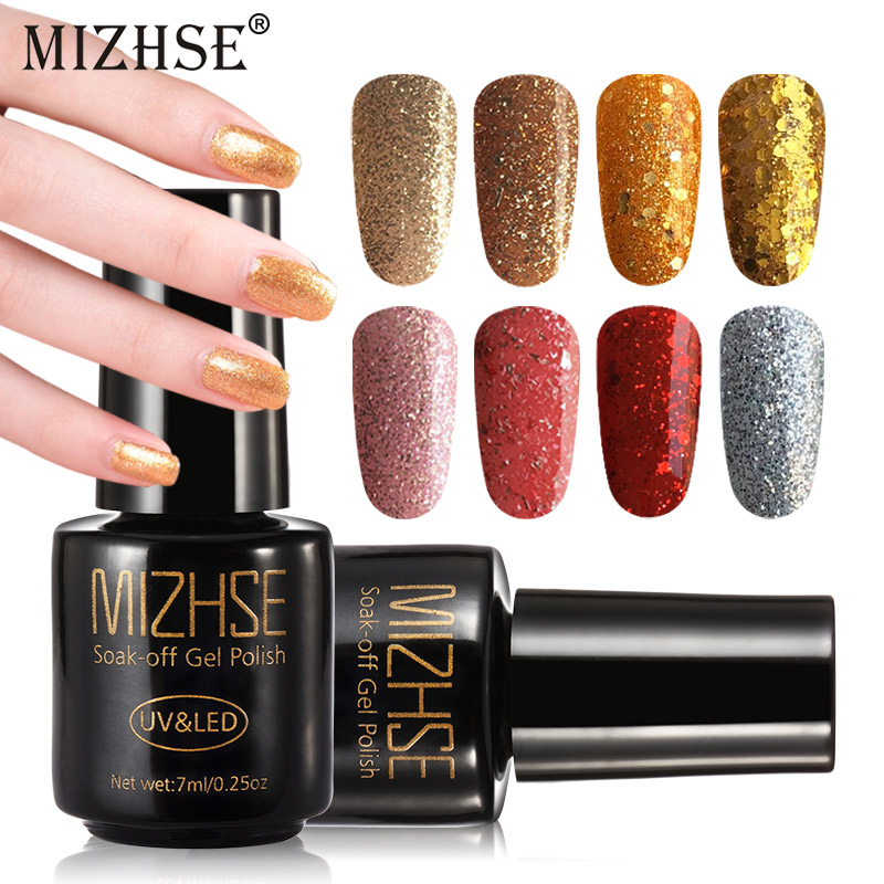 MIZHSE Holographic Nail Gel Varnish Acrylic Glitter Shimmer Gel Nail Polish Champagne Gold Silver Nails Gel UV Colors Nail Art