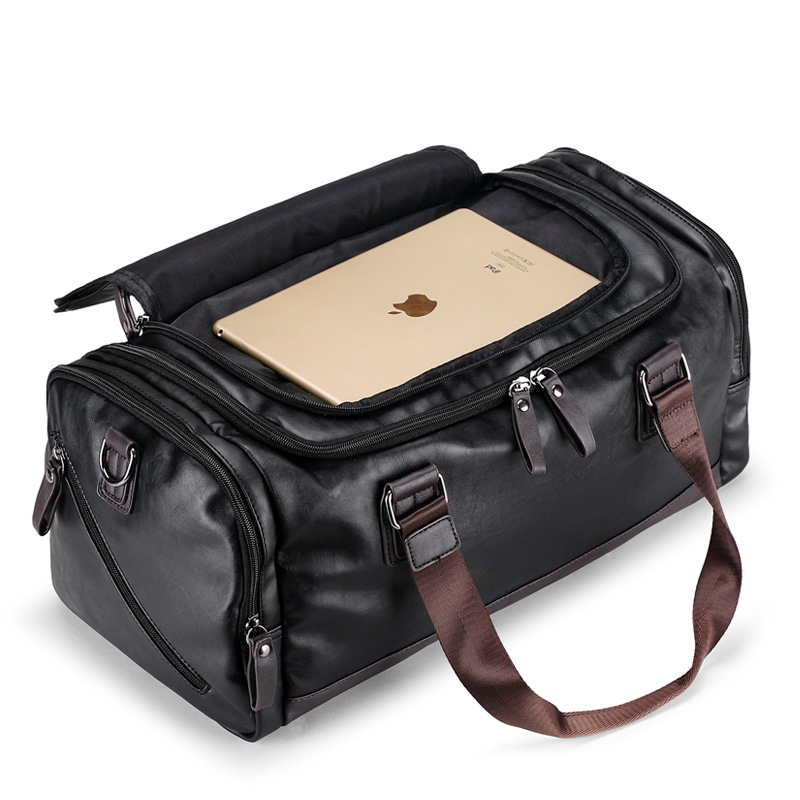 Bagaj ve Çantalar'ten Seyahat Çantaları'de 2018 Yeni Varış Deri Seyahat Çantaları Erkekler için Büyük Kapasiteli Taşınabilir Erkek omuz çantaları erkek Çanta Rahat Seyahat Duffle'da  Grup 1