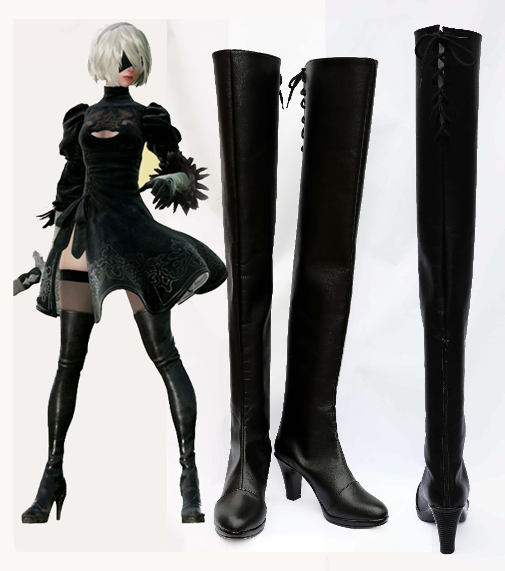 New NieR Automata Cosplay YoRHa No 2 Type B Shoes Black Shoes Boots For Adult Costume
