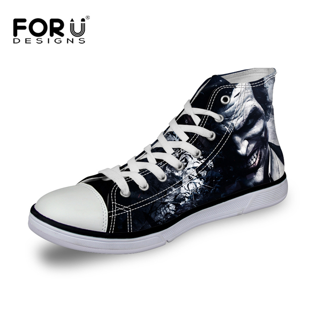 forudesigns men casual shoes classic star high top canvas shoes,batman and joker patterned shoes breathable sport male flat shoe