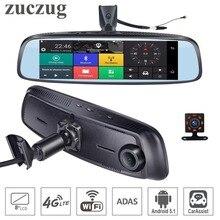 ZucZug 8 «4 г Touch ips специальные WI-FI Видеорегистраторы для автомобилей Камера Android зеркало заднего вида Даш Камера s Двойной объектив gps Bluetooth ADAS автомобиль помощи