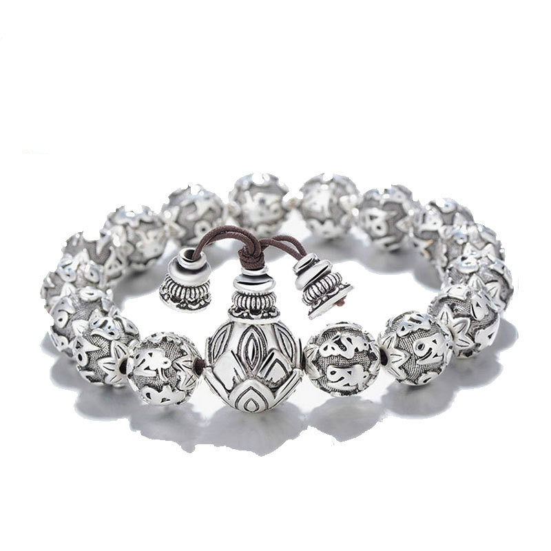 Fine Retro Tibetan Buddhism Plated Thai Silver Rope Bracelet Men Six Words Mantras OM MANI PADME HUM Lotus Beads Bracelet 12mm 16mm round sandalwood thai silver beads bracelet for women buddhism six letter scripture women men fine silver 990 jewelry sb69