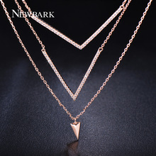 NEWBARK Double V Shape Necklace Rose Gold Color With Cubic Zirconia Necklace Pendants Chain Jewelry For