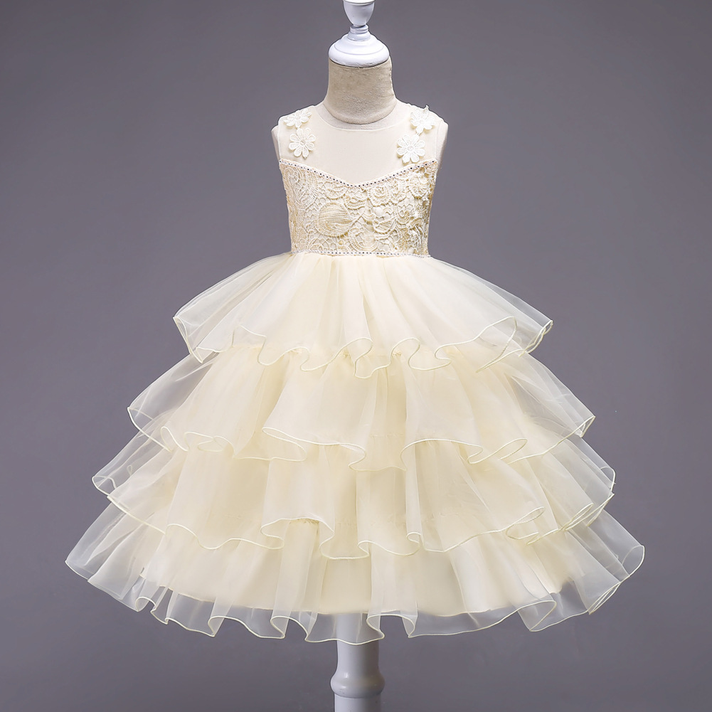 Girl     Flower   Princess   Dresses     Girl   Pure Color Sleeveless Cake   Dresses     Flower     Girl     Dresses
