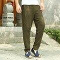 Hombres espesar Hombres Pantalones De Lino Pantalones Largos Más El Tamaño Chino Pantalones Casuales Pantalones Deportivos Transpirable, de Alta Calidad de Los Hombres pantalones Q295