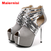 Big Size 34 44 Sexy Platform Lady S Open Toe Shoes 14cm Stiletto Heel Women Stage