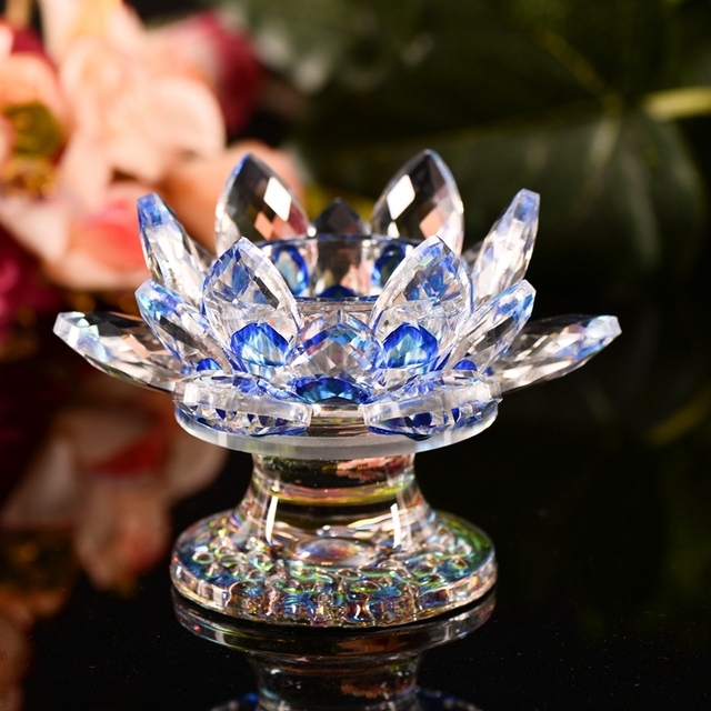 Handmade crystal lotus flower candle holders glass