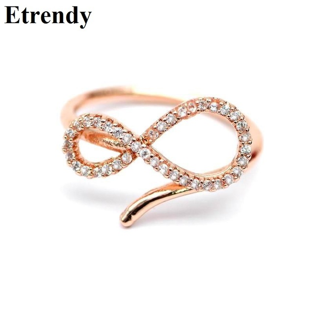 53f44cb42ae4 Ajustable infinito anillos para las mujeres de oro rosa-color Micro Pave  Zircon anillo de