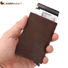 ФОТО jisoncase card id holders crazy hose genuine leather credit cards holder with cash pocket for unisex gender aluminium wallet