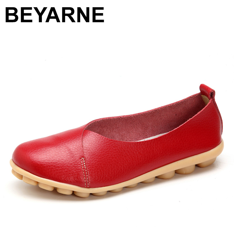BEYARNE 2018 Handmade Leather Women plus size Sewing Flats Moccasins Loafers ballet flats women Comfortable soft Casual Shoes handmade vintage women shoes genuine leather female moccasins loafers soft comfortable casual shoes flats plus size 35 40