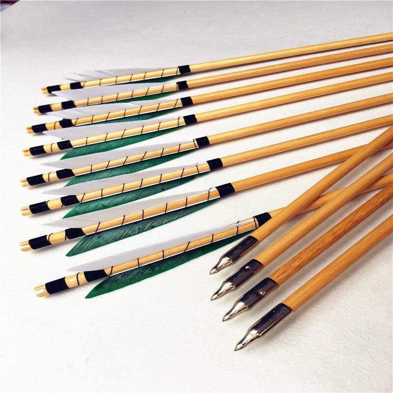 12 pk à la main blanc et vert méthode d'enroulement dinde plume flèches en bois pour tir à l'arc longbow