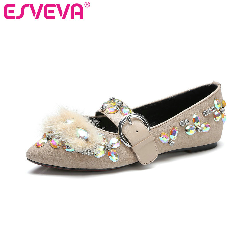 ESVEVA 2017 Sweet Girl Party Shoes Spring Autumn Real Leather Women Pumps Pointed Toe Buckle Square Low Heel Pumps Size 34-39 xexy small square toe medium heels natural leather women shoe spring autumn buckle strap dance party sweet platform women pumps
