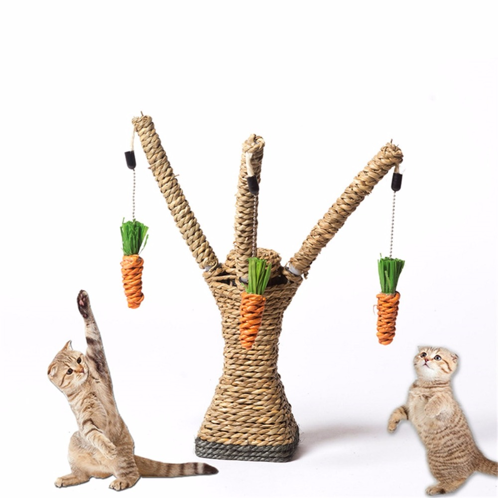 Plastic Sisal Rope Interactive Pet Cat Toy Tree Tower Shelves Shape Cat Kitten Climbing Frame Post Playing Toys With Carrot