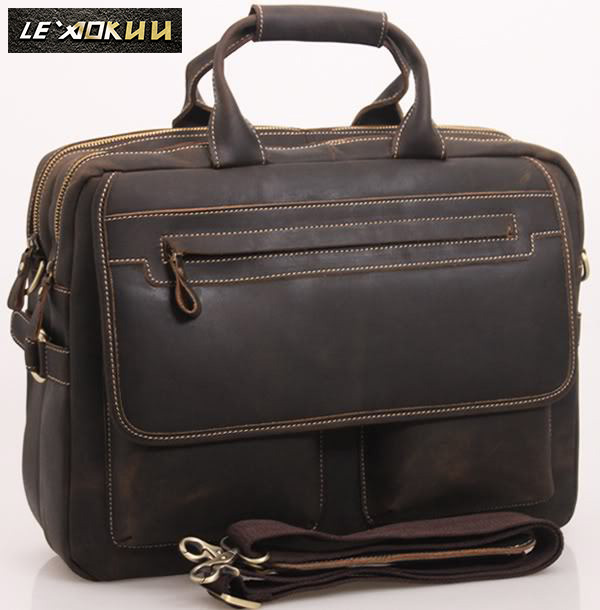 Men Leather Antique Designer Business Briefcase Laptop Document Case Commercia Portfolio Attache Shoulder Messenger Bag 2951-d