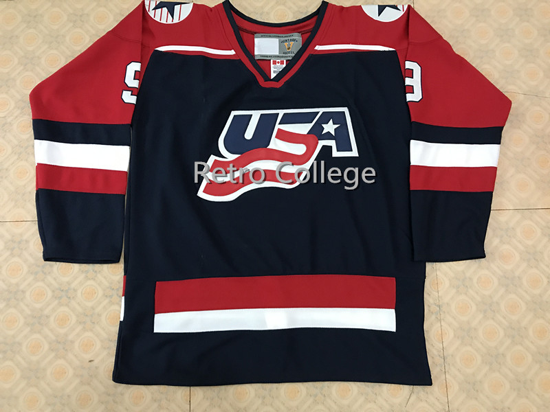Team USA 2002 #9 Mike Modano Hommes Hockey Jersey Broderie Piqué n'importe quel nombre et nom Maillots