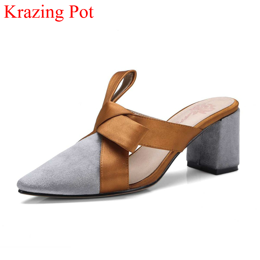 Sweet Mixed Colors Women Summer Shoes Slingback Pointed Toe Slip on Bowtie Mules High Heels Streetwear Vacation Women Pumps L31 spring summer women leather flat shoes 2017 sweet bowtie flats women shoes pointed toe slip on ladies shoes low heel shoes pink