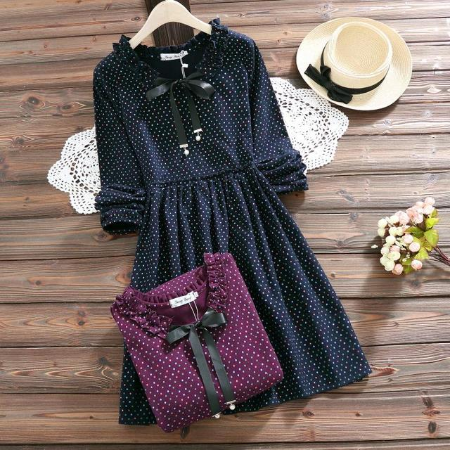 2018 Fashion Cute Tie Bow Spring Autumn Women Dress Ruffled Dot Printed Femme Vestidos Long Sleeve Red Navy Blue Lady Dress  by Banulin