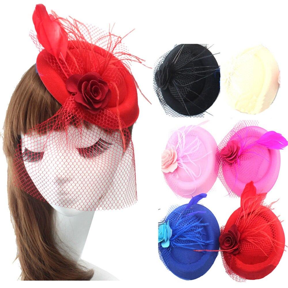 المرأة سيدة بنات زهرة شبكة ريشة قبعة شكل دبابيس دبوس الشعر headwear HATYS0053