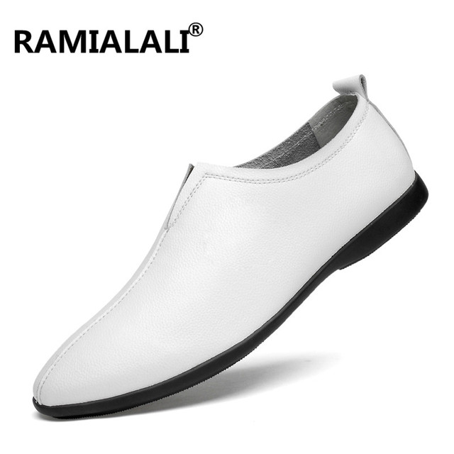 Ramialali Men Casual Shoes Luxury Brand Fashion Genuine Leather Shoes Summer Classic Mens Shoes Male Leather Shoes Plus 36-46