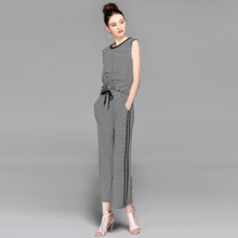 Factory direct high-end womens suit spring, summer and autumn new sleeveless striped round neck cotton shirt pants