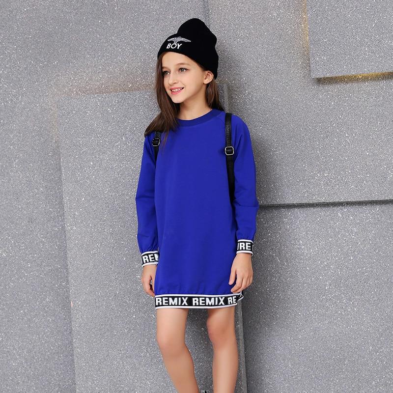 2016 Girls Autumn Royal Blue Dress 100% Children Cotton Kids Fashion Long Sleeves Dress Clothes 5 6 7 8 9 10 11 12 13 14 Years kids girls dress cotton long sleeve girls clothing autumn casual children girls dress 5 6 7 8 9 10 11 12 13 14 15 years