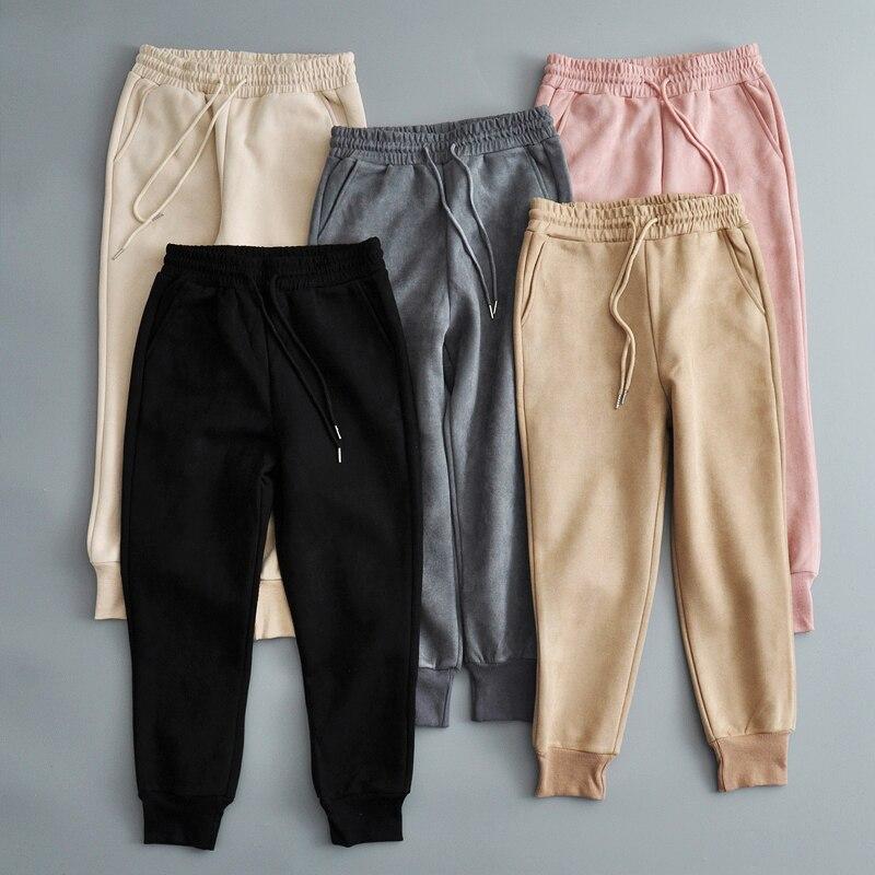 17951bcf479c Зимние женские замшевые спортивные штаны, утепленные флисовые Теплые ...